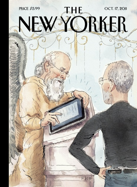 The New Yorker Cover, Oct 10, 2011 -- Steve Jobs with St Peter at the Gates of Heaven