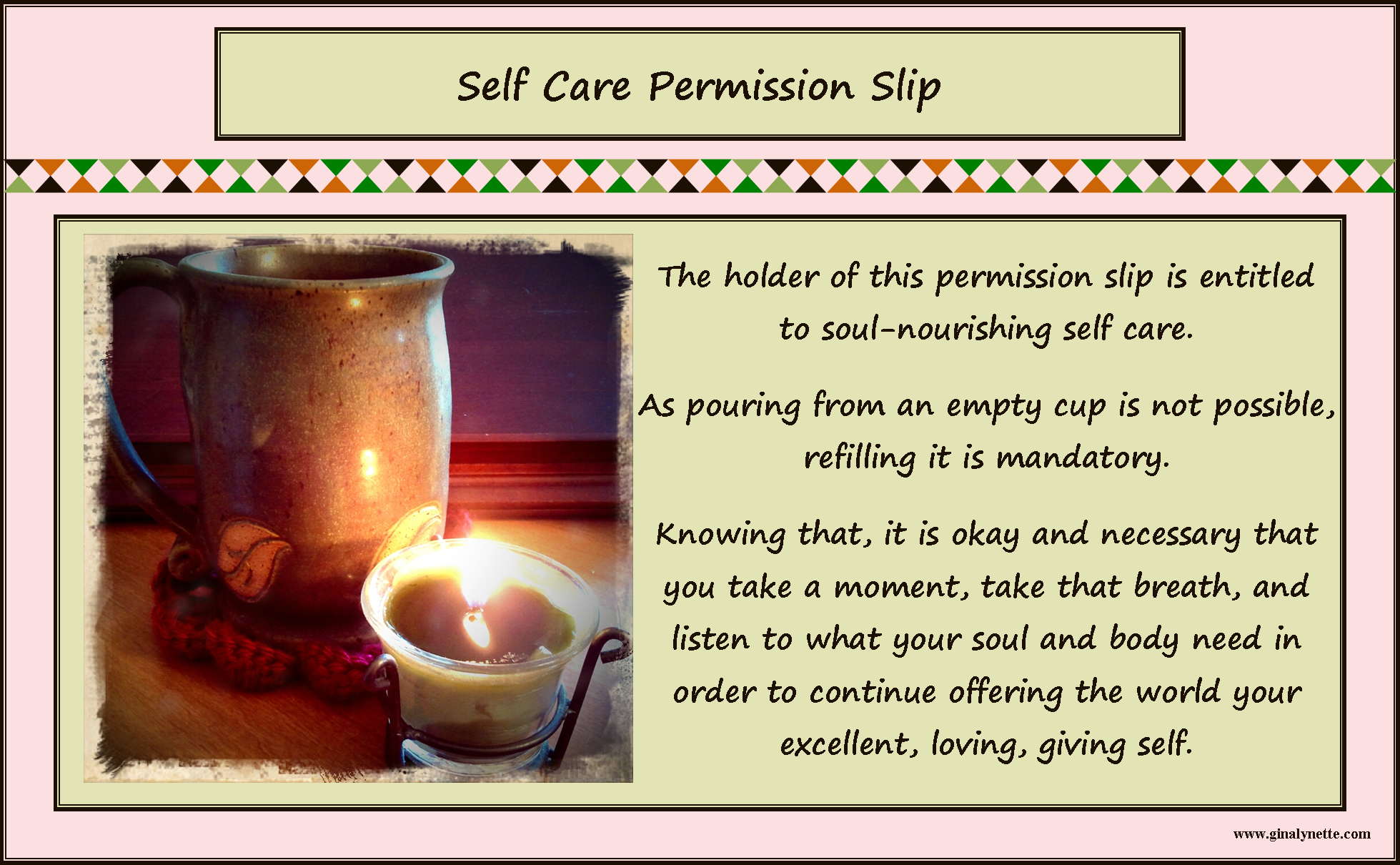 Self Care Permission Slip