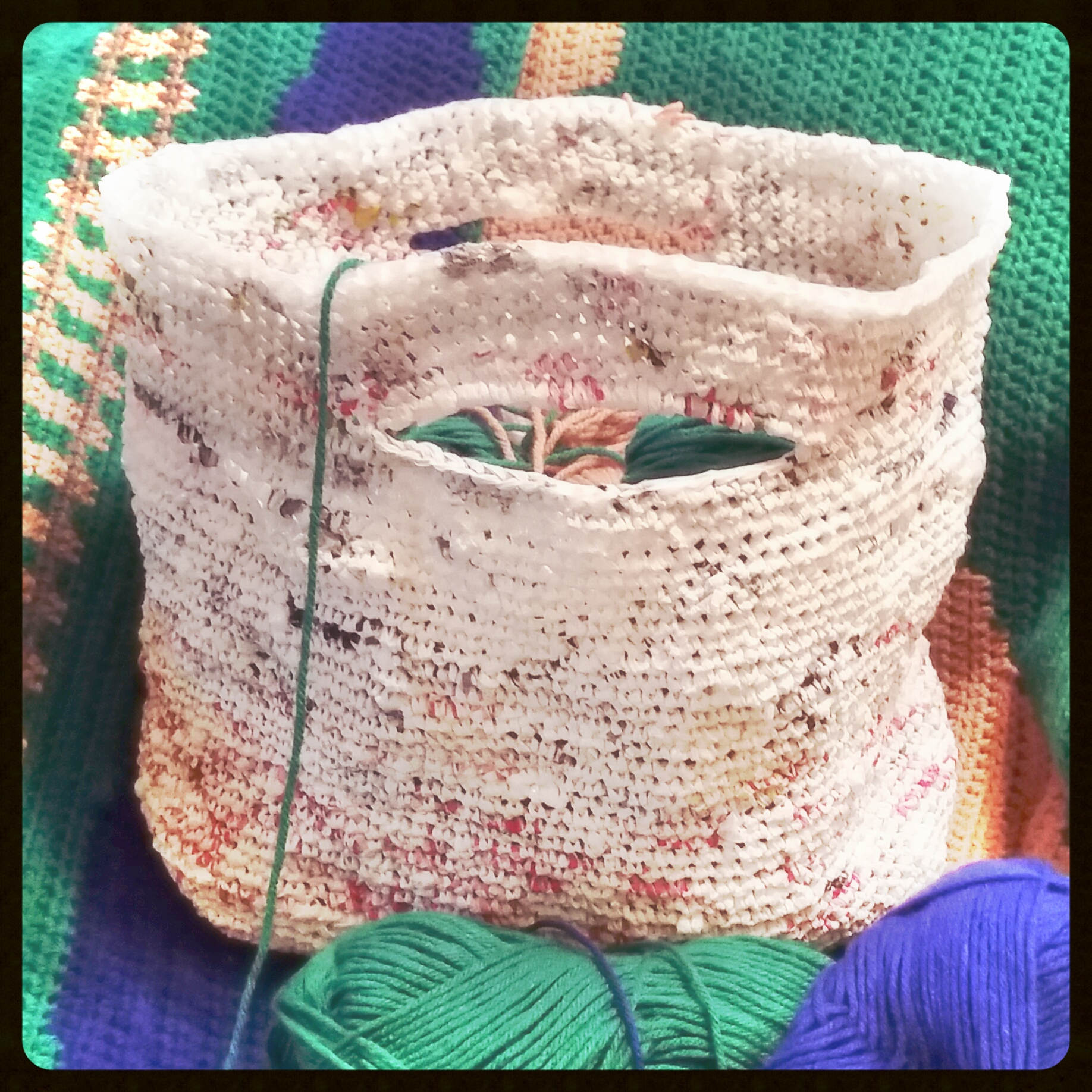 Tote Bag Crocheted out of Strips of Plastic Bags